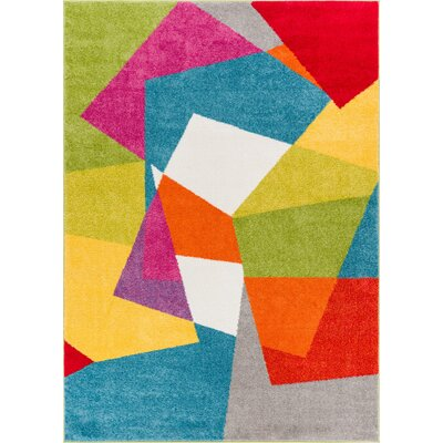 Cherita Modern Bold Geometric Blue/Green Area Rug Rug Size: Rectangle 53 x 73