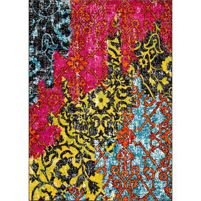 Cherita Modern Boho Distressed Red/Yellow Area Rug Rug Size: 53 x 73