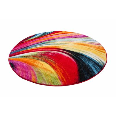 Cherita Modern Lines and Brush Red/Yellow Area Rug Rug Size: Round 53