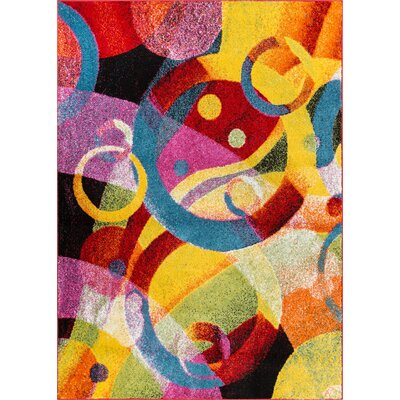 Cherita Modern Abstract Art Deco Blue/Yellow Area Rug Rug Size: Rectangle 33 x 5