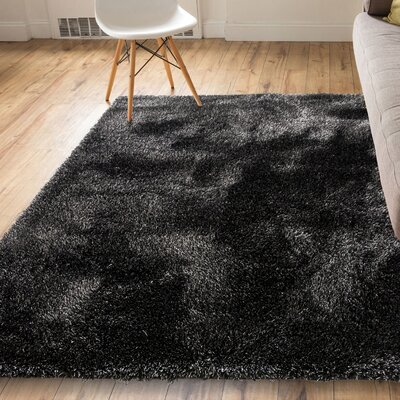 India Modern Solid Country Black Area Rug Rug Size: 53 x 73