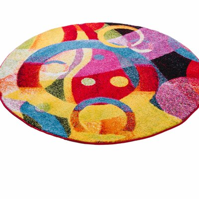 Cherita Modern Abstract Art Deco Blue/Yellow Area Rug Rug Size: Round 53