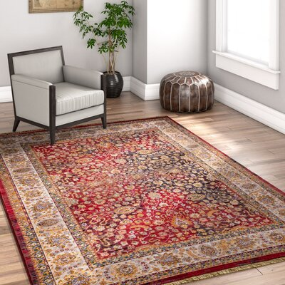 Paschall Traditional Oriental Farmhouse Red Area Rug Rug Size: 311 x 57