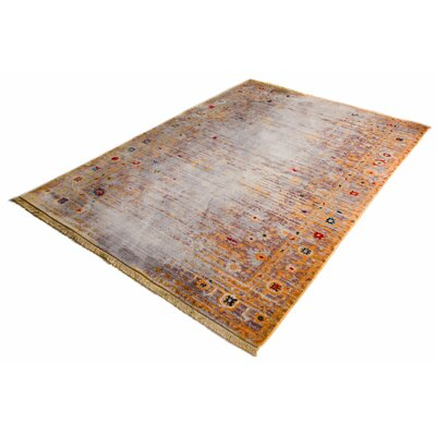 Bridgegate Modern Distressed Vintage Gold Area Rug Rug Size: 53 x 77