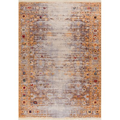 Bridgegate Modern Distressed Vintage Gold Area Rug Rug Size: 2 x 27