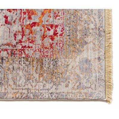 Bridgegate Modern Distressed Vintage Boho Beige/Red Area Rug Rug Size: 53 x 77
