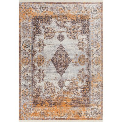 Bridgegate Modern Boho Distressed Gold Area Rug Rug Size: 53 x 77