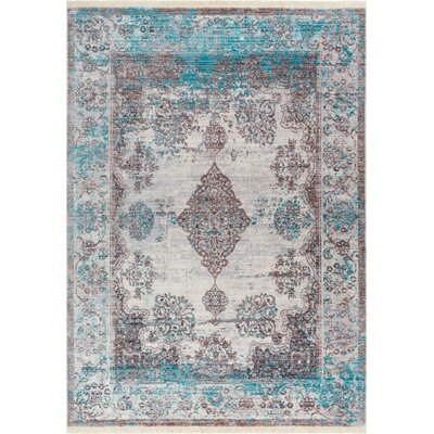 Bridgegate Modern Boho Distressed Blue/Brown Area Rug Rug Size: 2 x 27