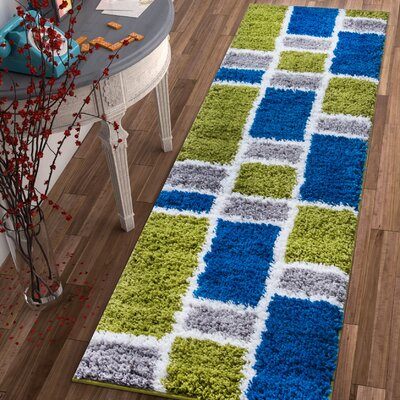 Dondre Green/Blue Indoor Area Rug Rug Size: Runner 2 x 73