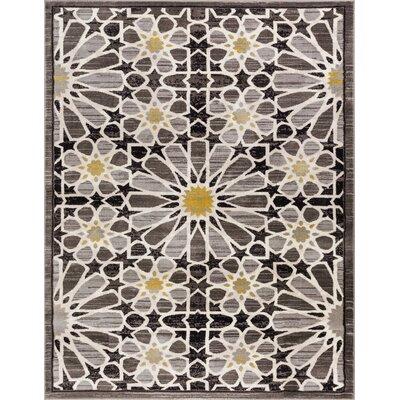 Devanna Modern Floral Black Area Rug Rug Size: 53 x 73