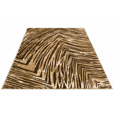 Felicienne Modern Stripes Brown/White Area Rug Rug Size: 710 x 106