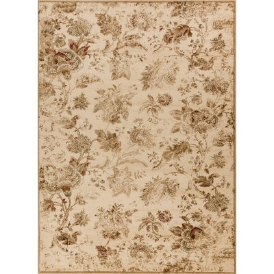 Sandra Traditional Floral Beige Area Rug Rug Size: 53 x 73