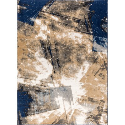 Devanna Modern Abstract Blue Area Rug Rug Size: 53 x 73