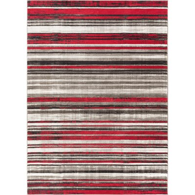Langley Red Area Rug Rug Size: 53 x 73