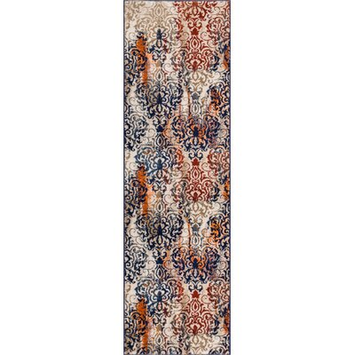 Kyler Orange/Blue Area Rug Rug Size: 5'3
