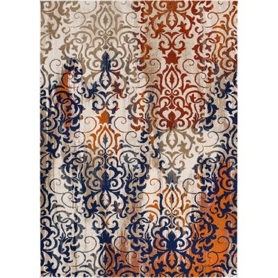 Kyler Orange/Blue Area Rug Rug Size: 53 x 73