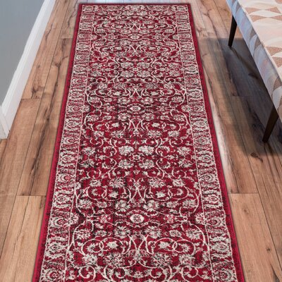 Abramowitz Red Area Rug Rug Size: Runner 27 x 91