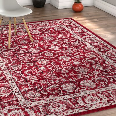 Abramowitz Red Area Rug Rug Size: 53 x 73