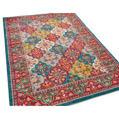 Aya Panel Red/Teal Area Rug Rug Size: 710 x 106