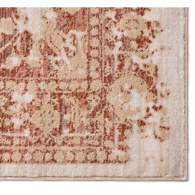 Aya Distressed Medallion Copper Area Rug Rug Size: 33 x 57