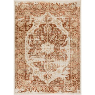 Aya Distressed Medallion Copper Area Rug Rug Size: 710 x 106