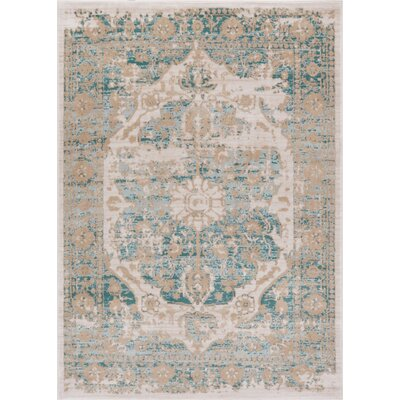 Aya Distressed Medallion Blue/Beige Area Rug Rug Size: 53 x 73
