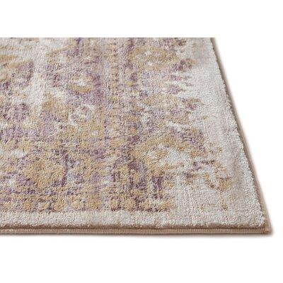 Aya Distressed Medallion Lavender/Beige Area Rug Rug Size: 53 x 73