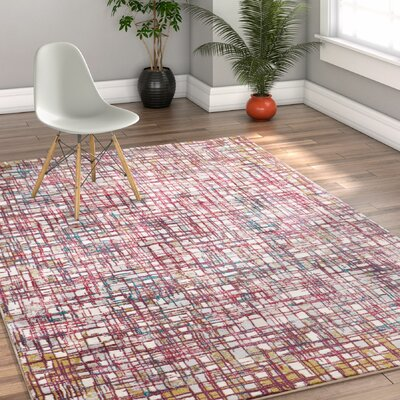 Highlawn Plaid Checkered Purple/Pink Area Rug Rug Size: 53 x 73