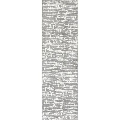 Honaye Modern Geo Lines Gray/White Area Rug Rug Size: Runner 23 x 73