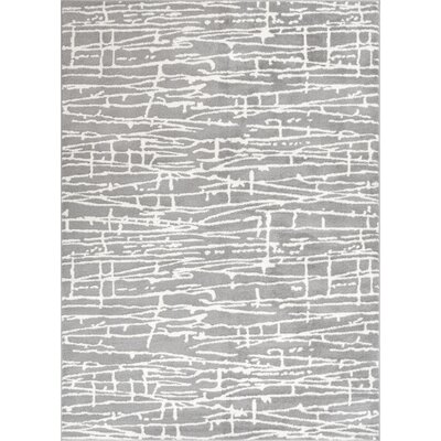 Honaye Modern Geo Lines Gray/White Area Rug Rug Size: 53 x 73