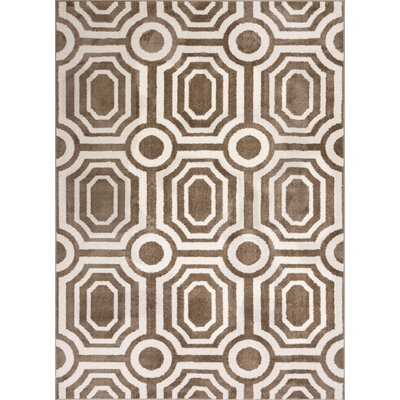 Dority Modern Mosaic Tile Work Brown/Beige Area Rug Rug Size: 53 x 73