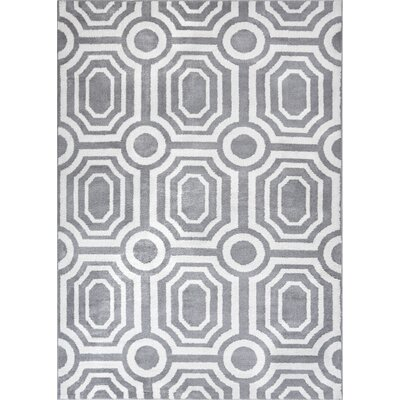 Dority Modern Mosaic Tile Work Gray/Beige Area Rug Rug Size: 53 x 73