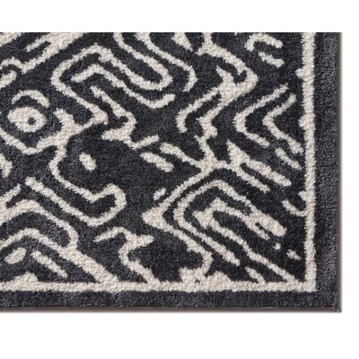 Dority Classic Modern Abstract Dark Gray/White Area Rug Rug Size: 710 x 910