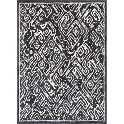 Dority Classic Modern Abstract Dark Gray/White Area Rug Rug Size: 53 x 73