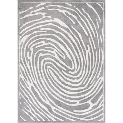 Jenecke Delightful Modern Fingerprint Lines Light Gray/White Area Rug Rug Size: 53 x 73