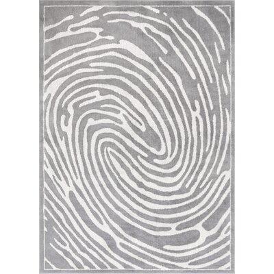 Jenecke Delightful Modern Fingerprint Lines Light Gray/White Area Rug Rug Size: 710 x 910