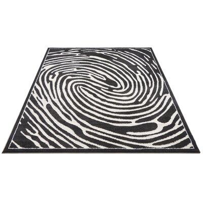 Jenecke Delightful Modern Fingerprint Lines Black/White Area Rug Rug Size: 710 x 910
