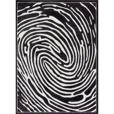Jenecke Delightful Modern Fingerprint Lines Black/White Area Rug Rug Size: 53 x 73