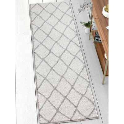 Patterson Modern Moroccan Trellis Gray Area Rug Rug Size: Runner 23 x 73