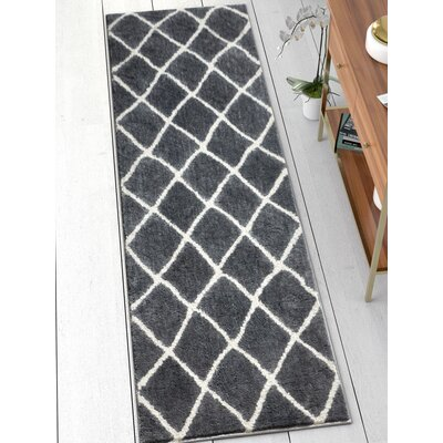 Patterson Modern Moroccan Trellis Dark Gray/White Area Rug Rug Size: 53 x 73