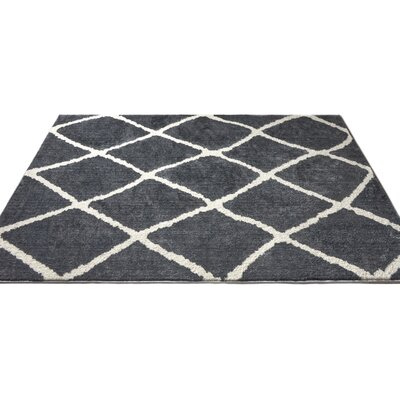 Patterson Modern Moroccan Trellis Dark Gray/White Area Rug Rug Size: 710 x 910
