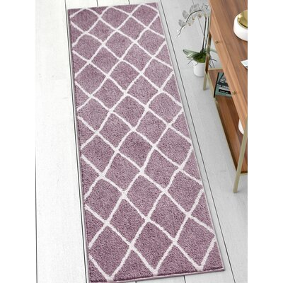 Patterson Modern Moroccan Trellis Lavender/White Area Rug Rug Size: Runner 23 x 73