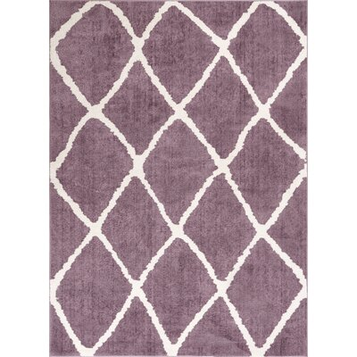 Patterson Modern Moroccan Trellis Lavender/White Area Rug Rug Size: 710 x 910