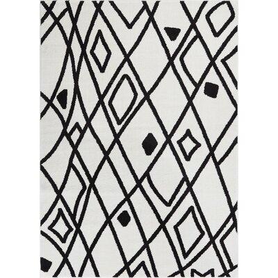 Honaye Modern Artisan Black/White Area Rug Rug Size: 53 x 73