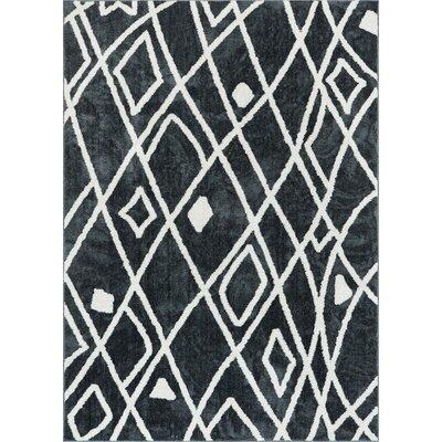 Honaye Modern Artisan Dark Gray/White Area Rug Rug Size: 710 x 910