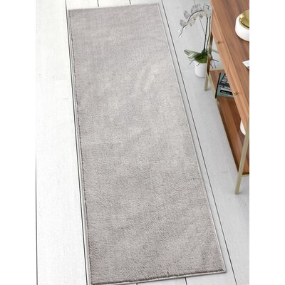 Qichen Outstanding Modern Solid Light Gray Area Rug Rug Size: Runner 23 x 73