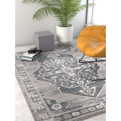 Rubio Persian Medallion Soft Vintage Dark Gray Area Rug Rug Size: Rectangle 93 x 126