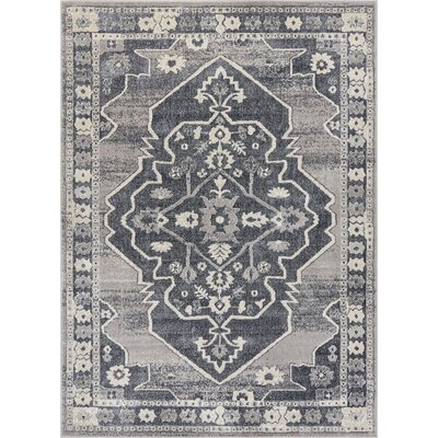 Rubio Persian Medallion Soft Vintage Dark Gray Area Rug Rug Size: 53 x 73