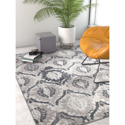 Emmett Vintage Gray Area Rug Rug Size: Rectangle 93 x 126