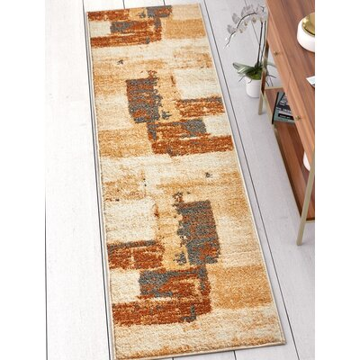 Rubino Vintage Blocks Brown Area Rug Rug Size: Runner 2 x 73